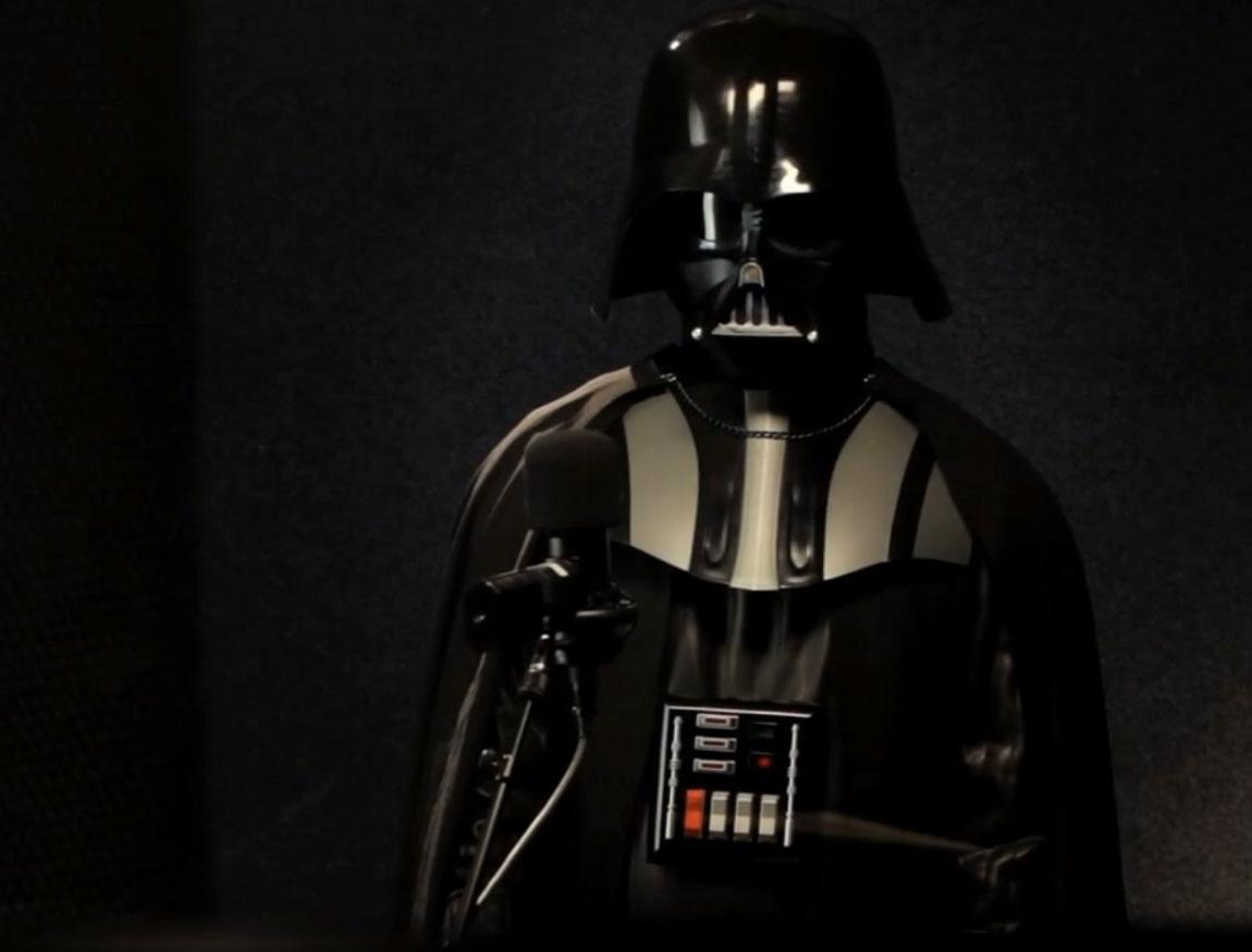 Darth Vader aus Star Wars im Aufnahmestudio